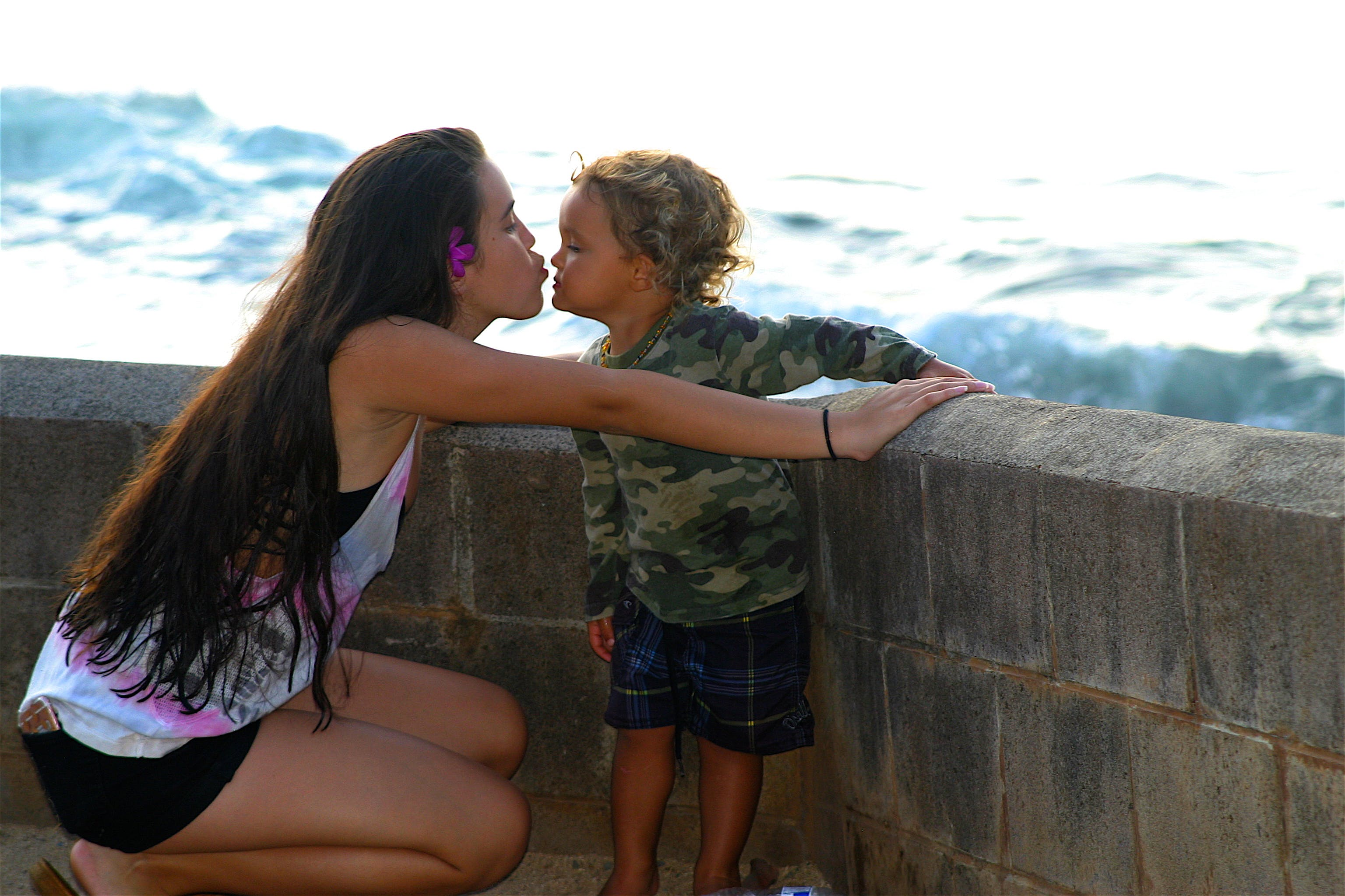 Free stock photo of beach, love, mother and child, people