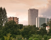 city, buildings, park