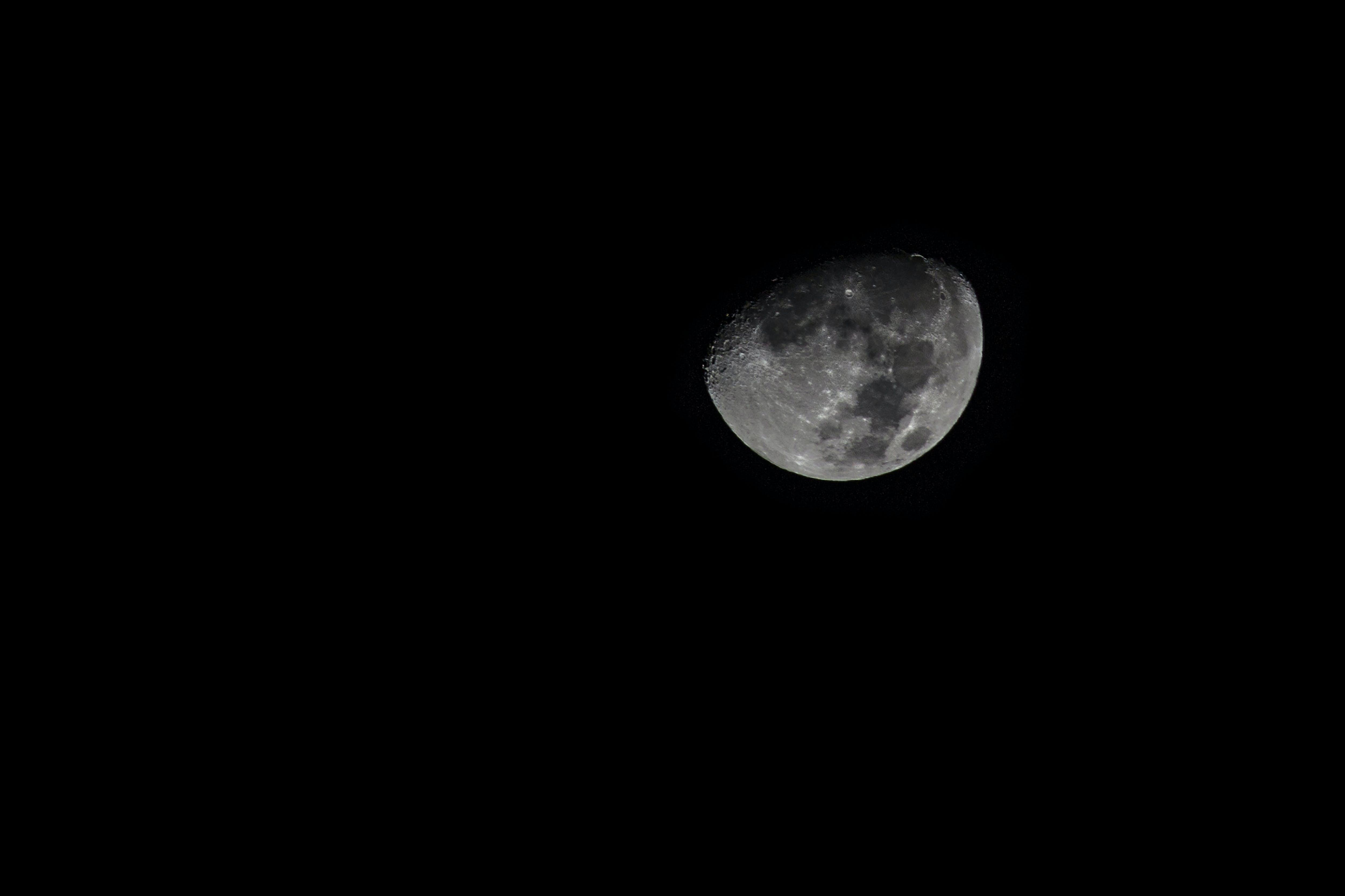 black-and-white, dark, moon