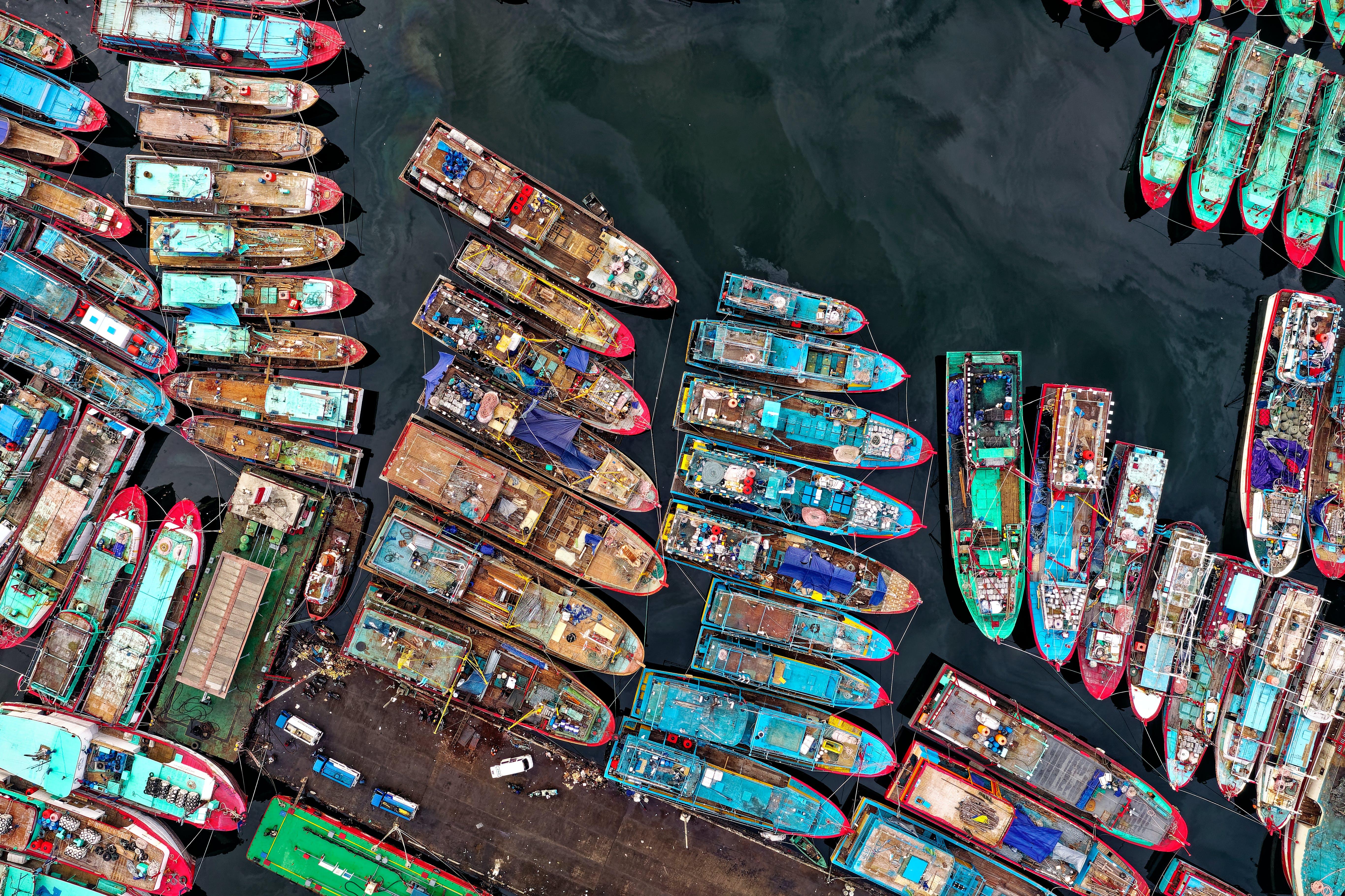 Kostenloses Stock Foto zu boote, dock, drohne erschossen, indonesien