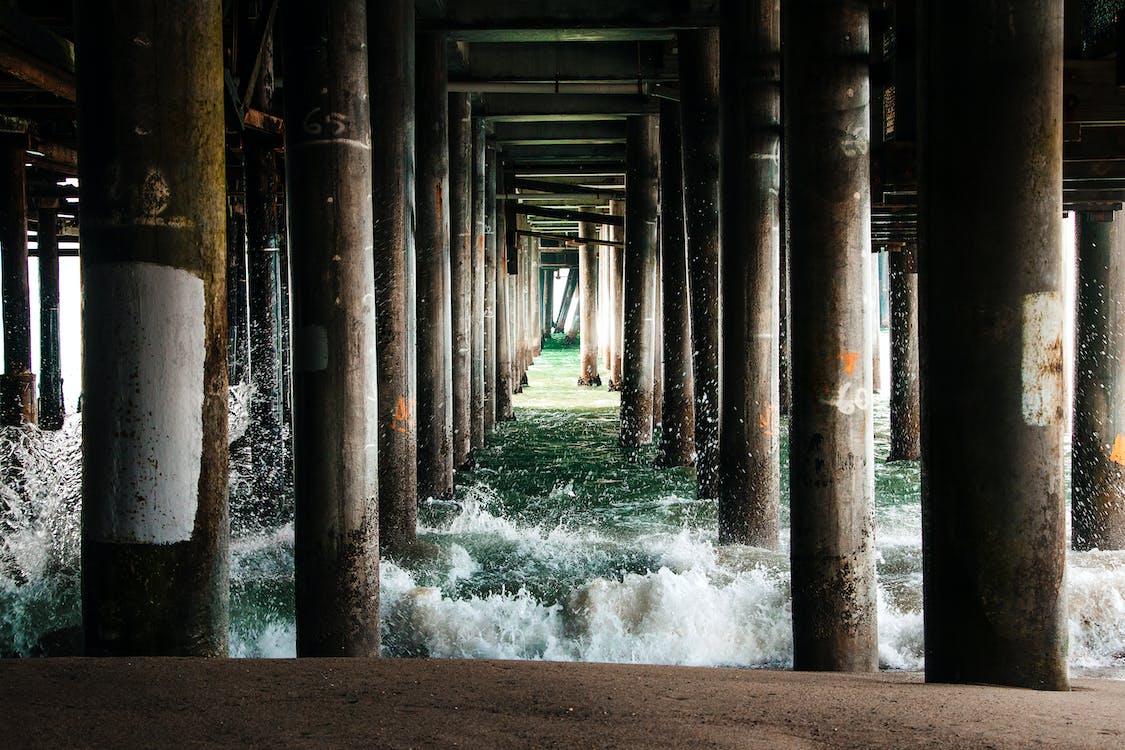 molo, pilíře, pláž