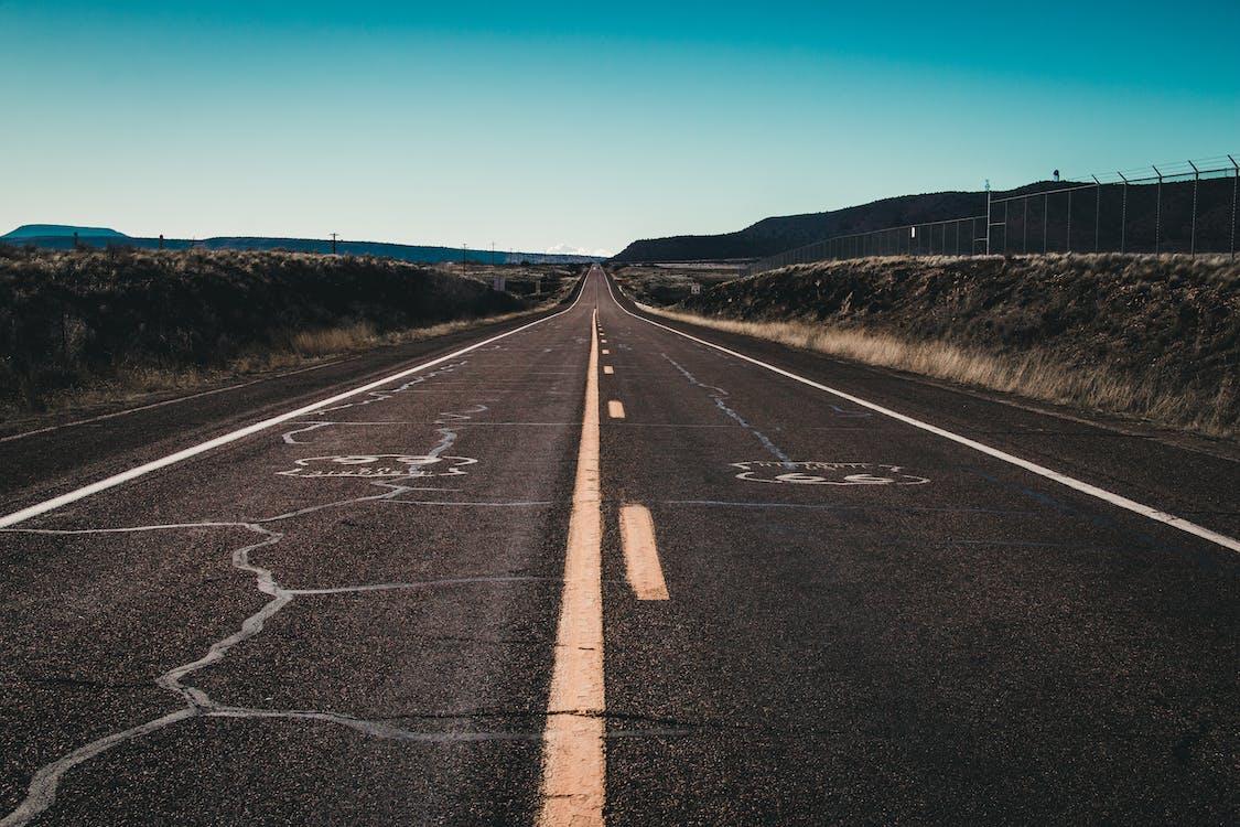 asfalt, denní světlo, jasná obloha