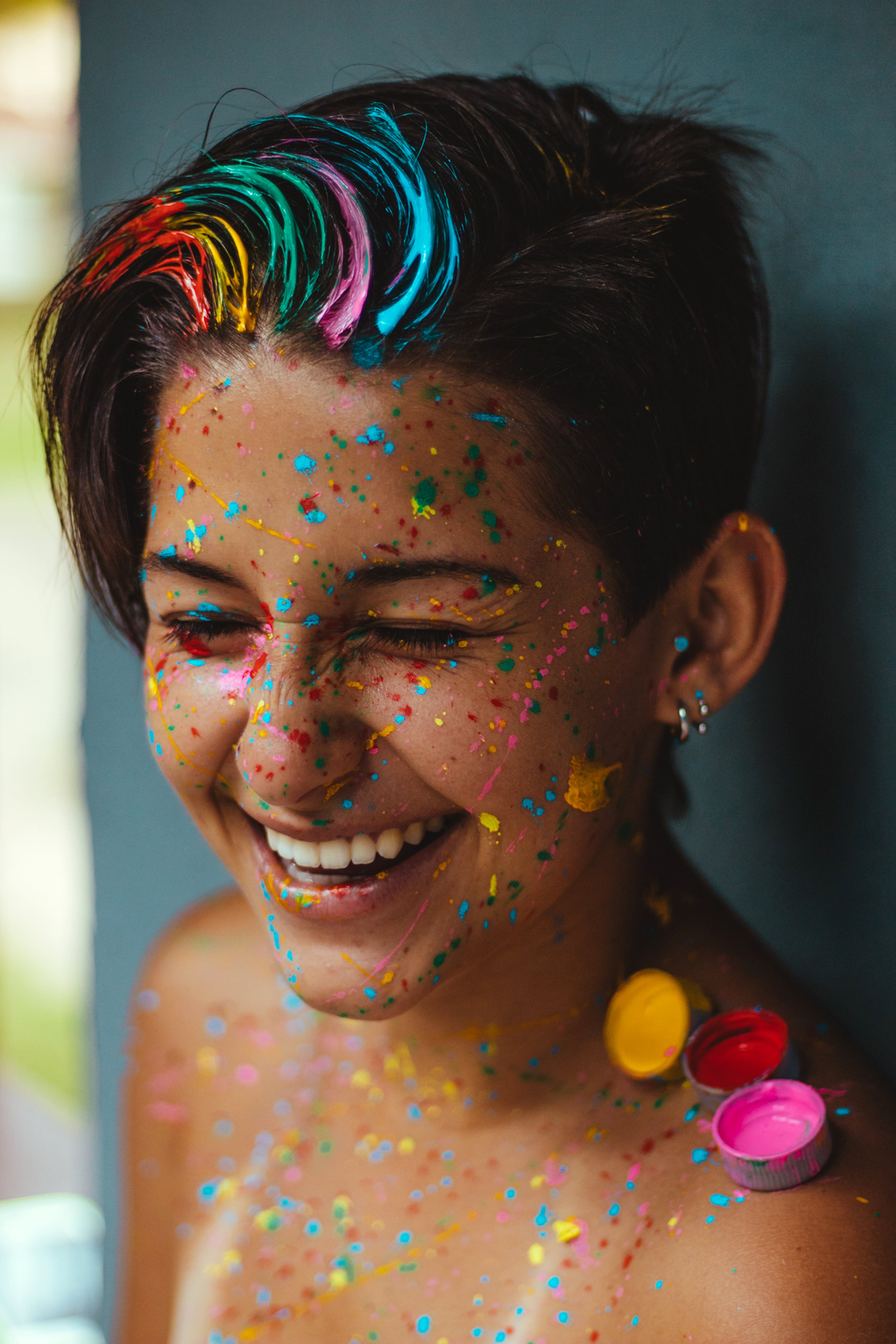 Shallow Focus Photo Of Woman Smiling With Face Paint