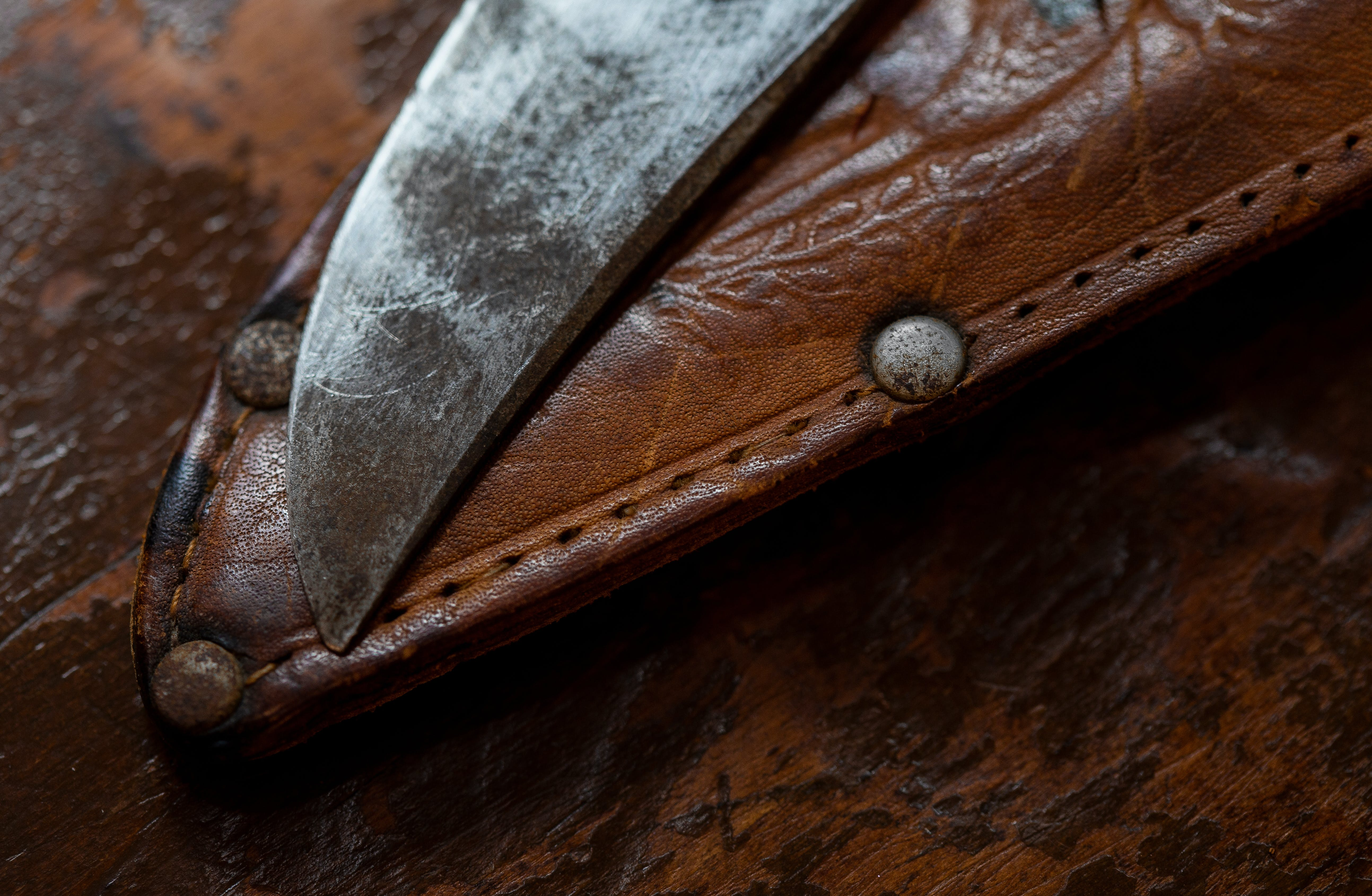 Free stock photo of blade, knife, knife holder, leather