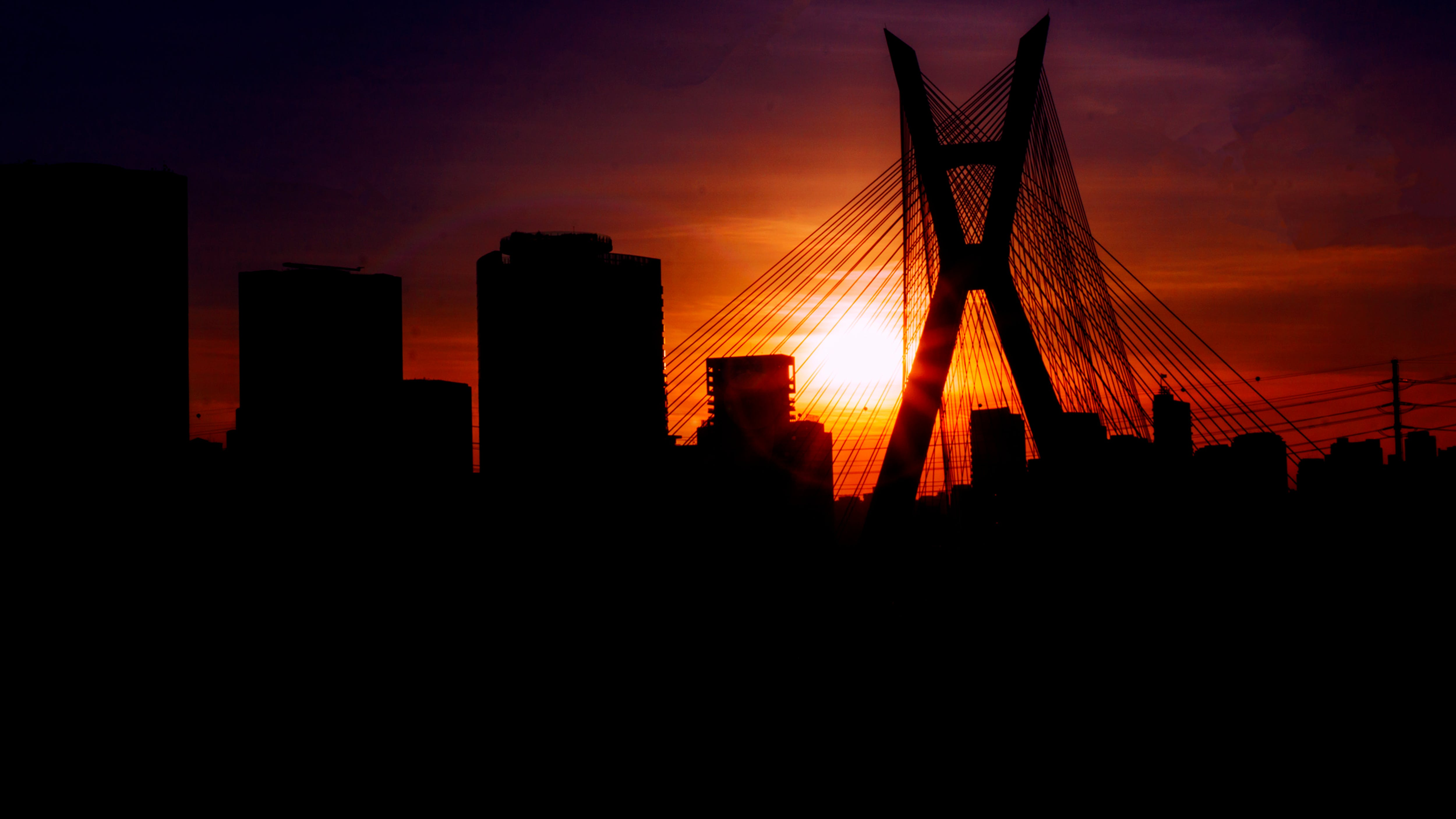 Free stock photo of bridge, city life, golden, sao paulo