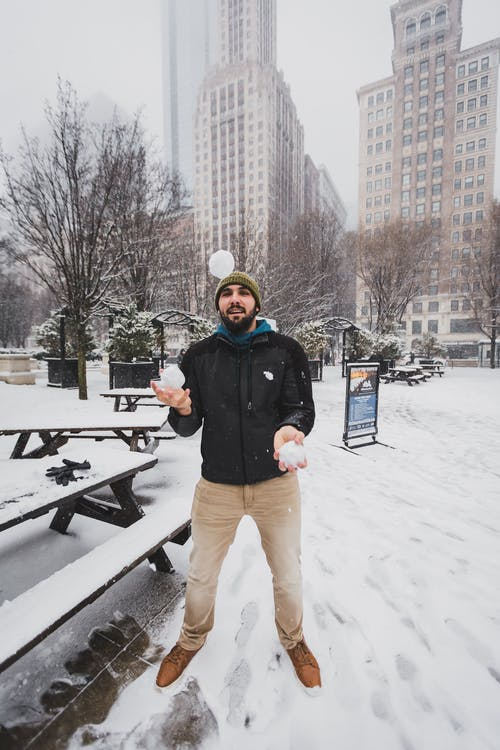 Man Playing With Snowballs