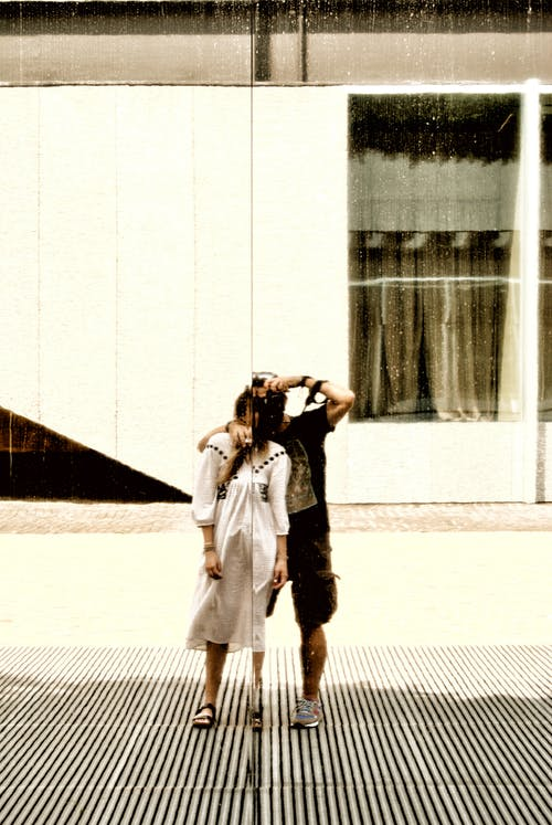 Free stock photo of couple, distortion, mirrors