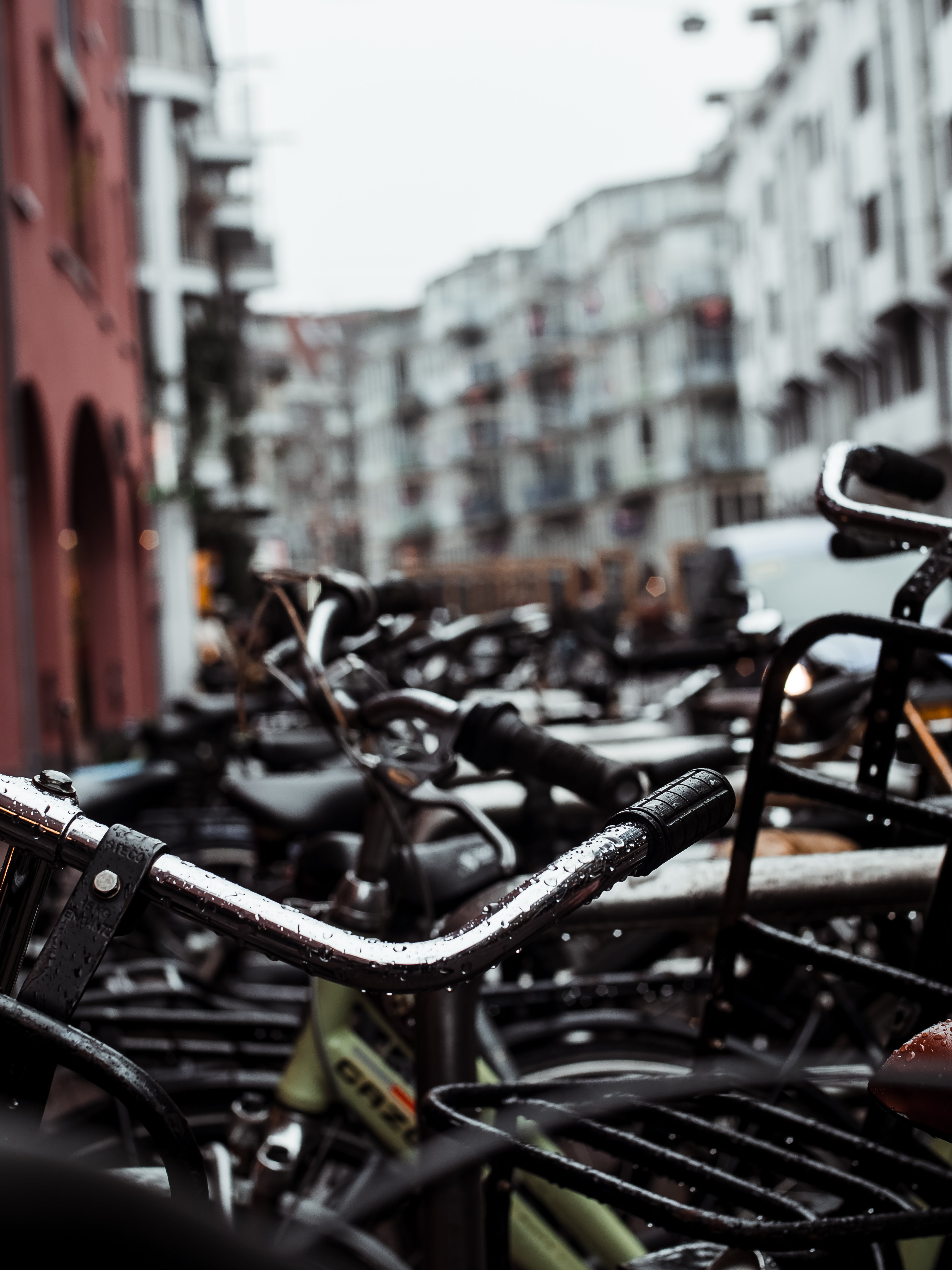 Close View of Bikes at the Middle of the Street