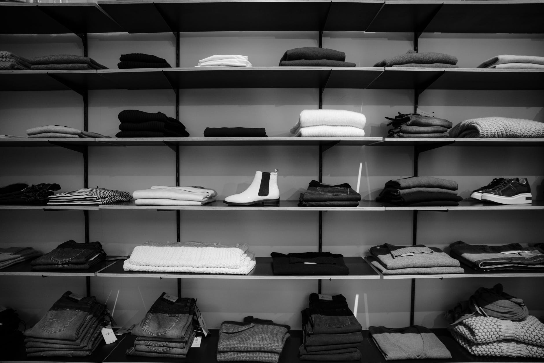 black and white photo of clothes