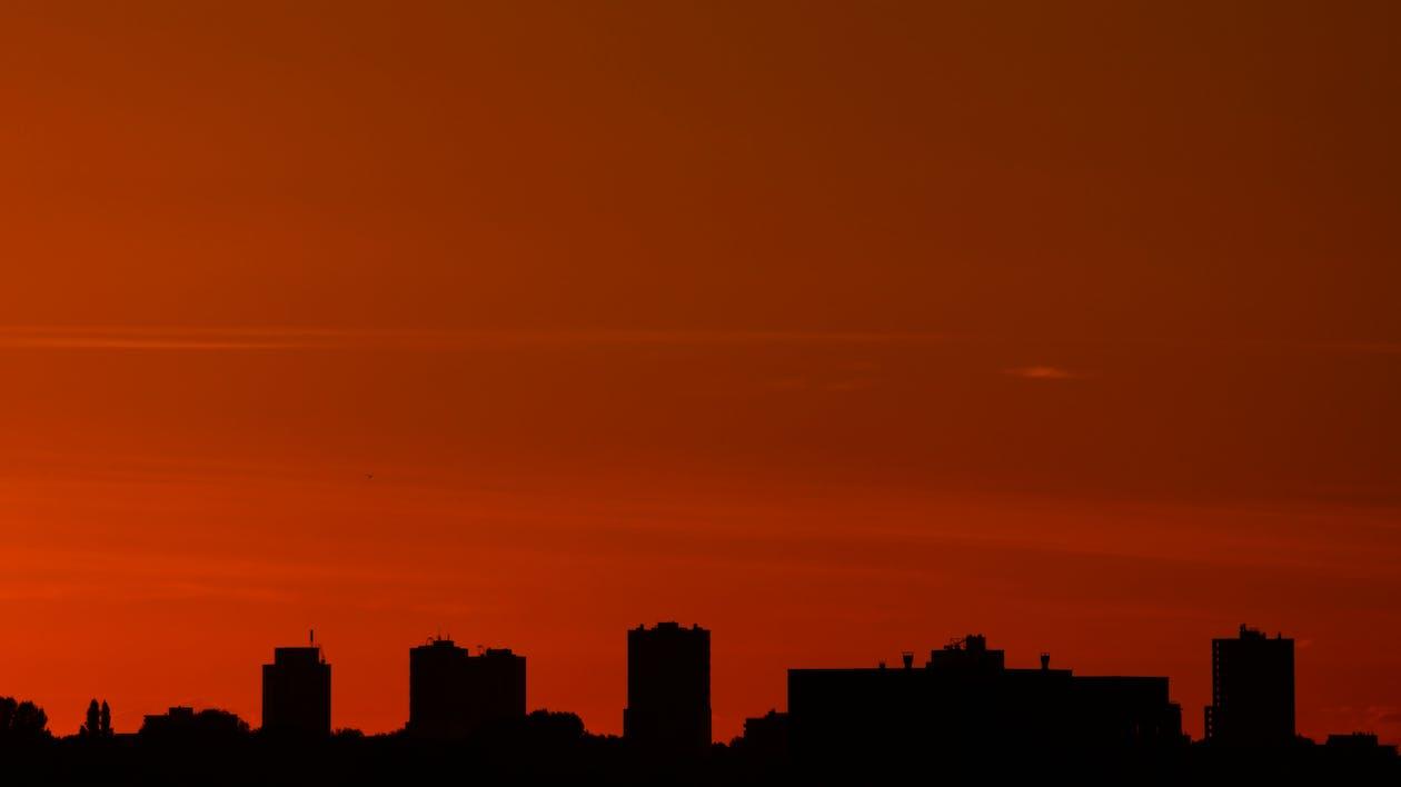 bagbelyst, bygninger, himmel