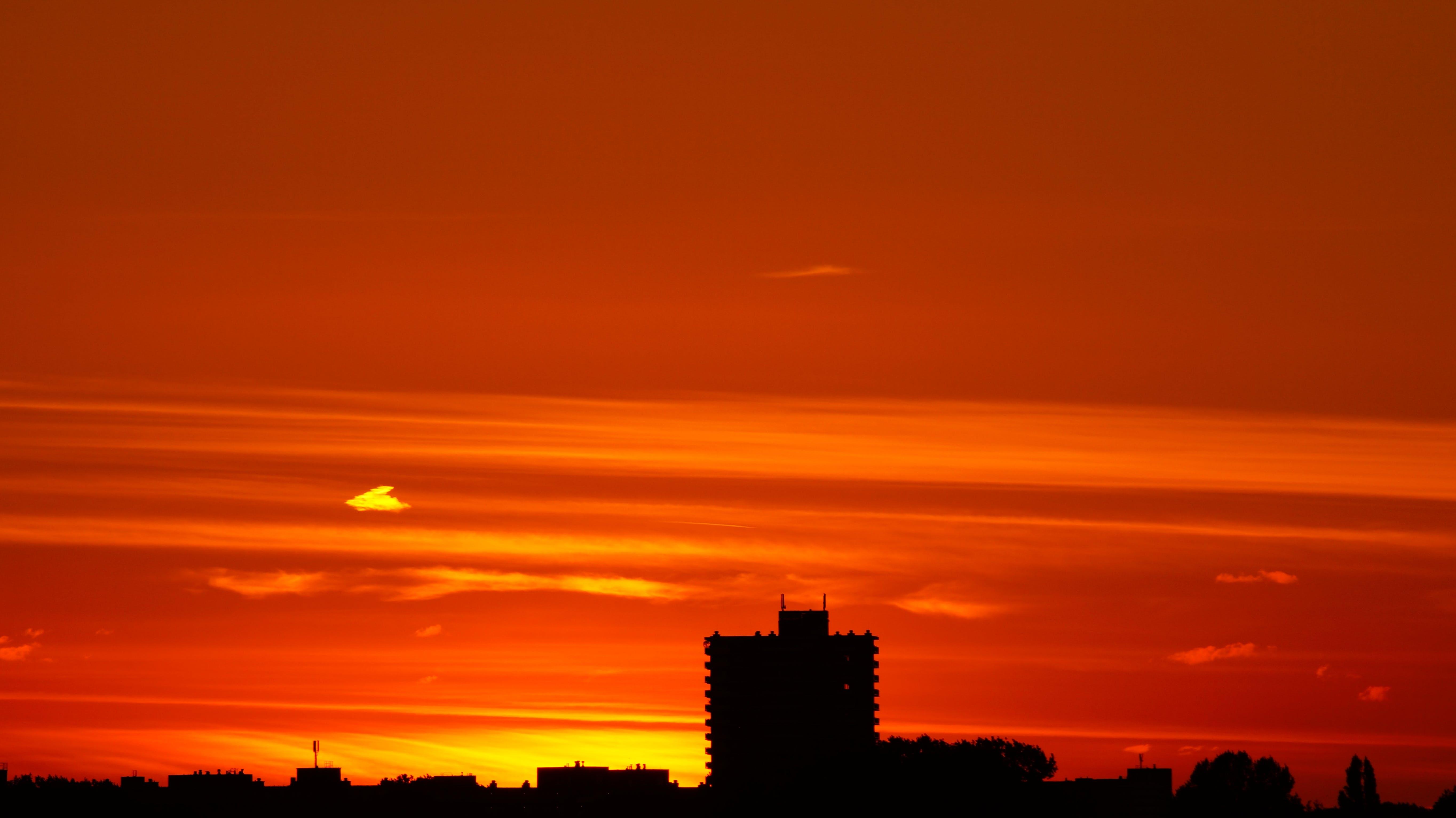 Sunset over City Skyline