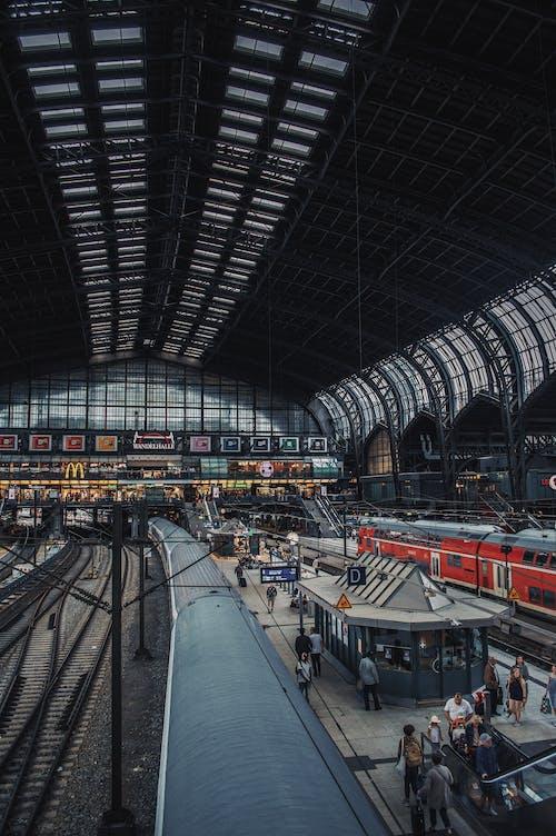 Foto stok gratis angkutan, Arsitektur, hamburg hauptbahnhof, jalur