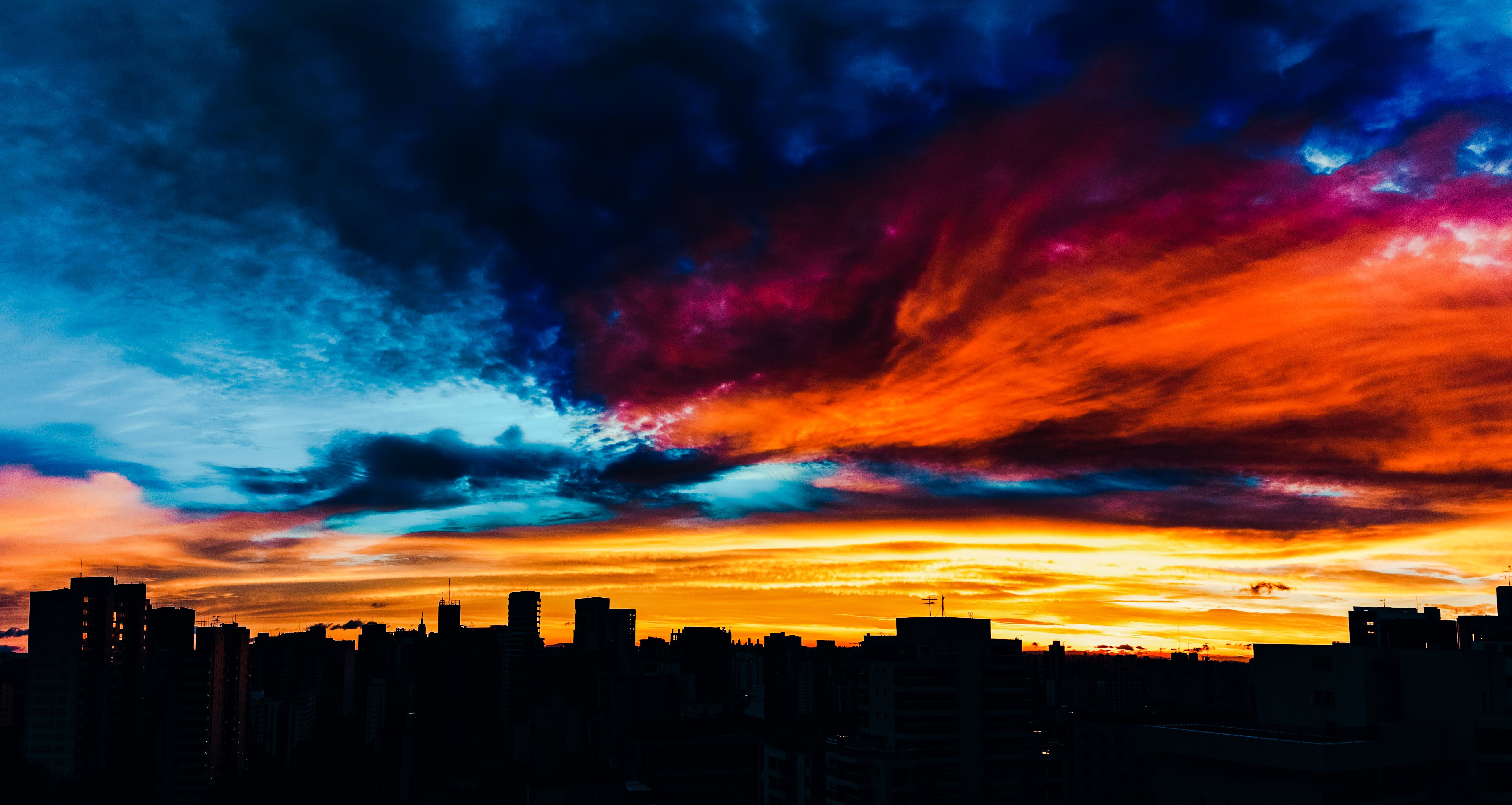 Free stock photo of city scape, colorful, dramatic sky, skyscape