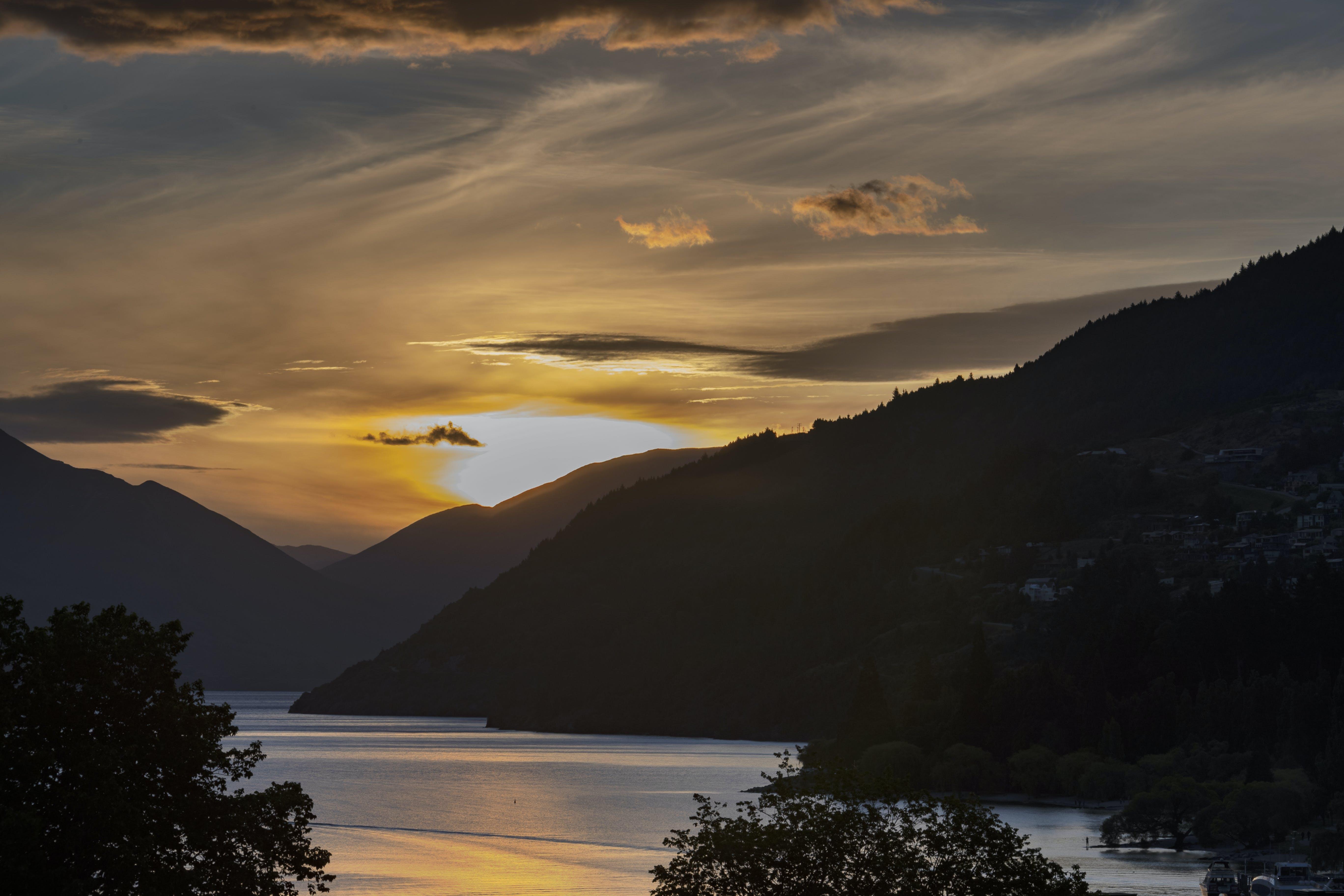 Free stock photo of body of water, clouds, golden sunset, lake wakatipu