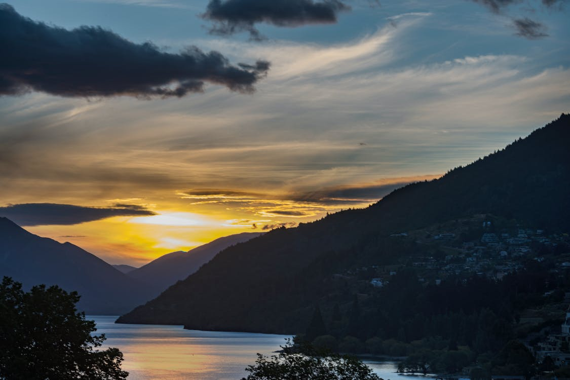 cos d'aigua, llac wakatipu, muntanyes