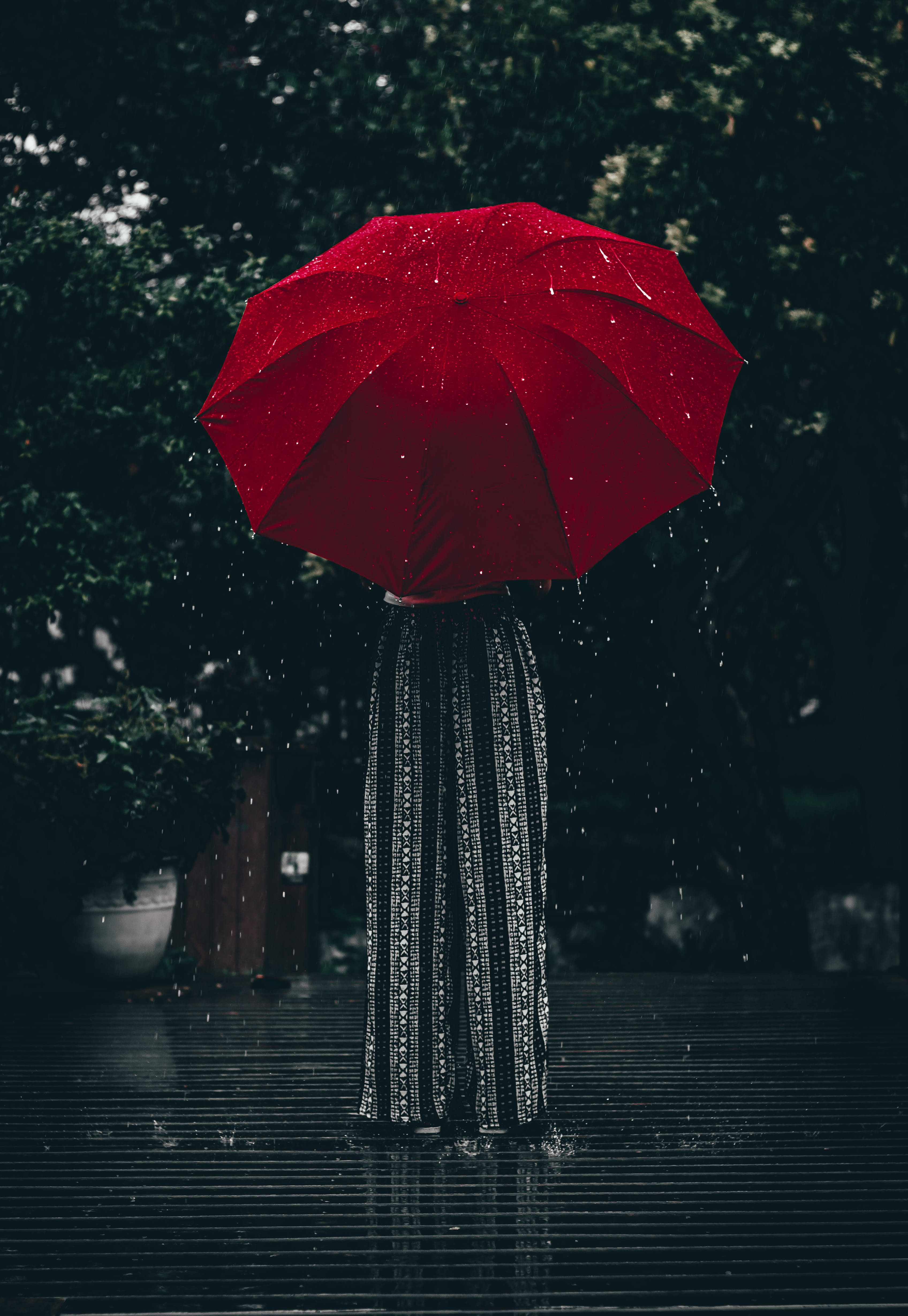 Person Standing Using Red Umbrella