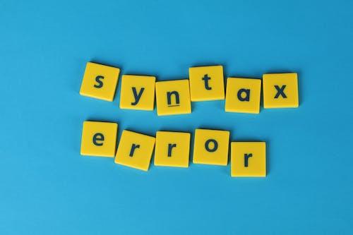 Foto profissional grátis de erro de sintaxe, fundo azul