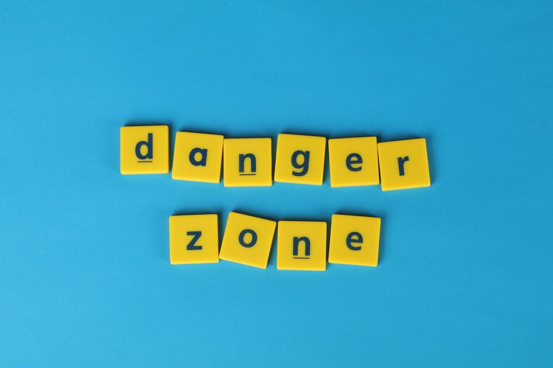 blue background, danger zone