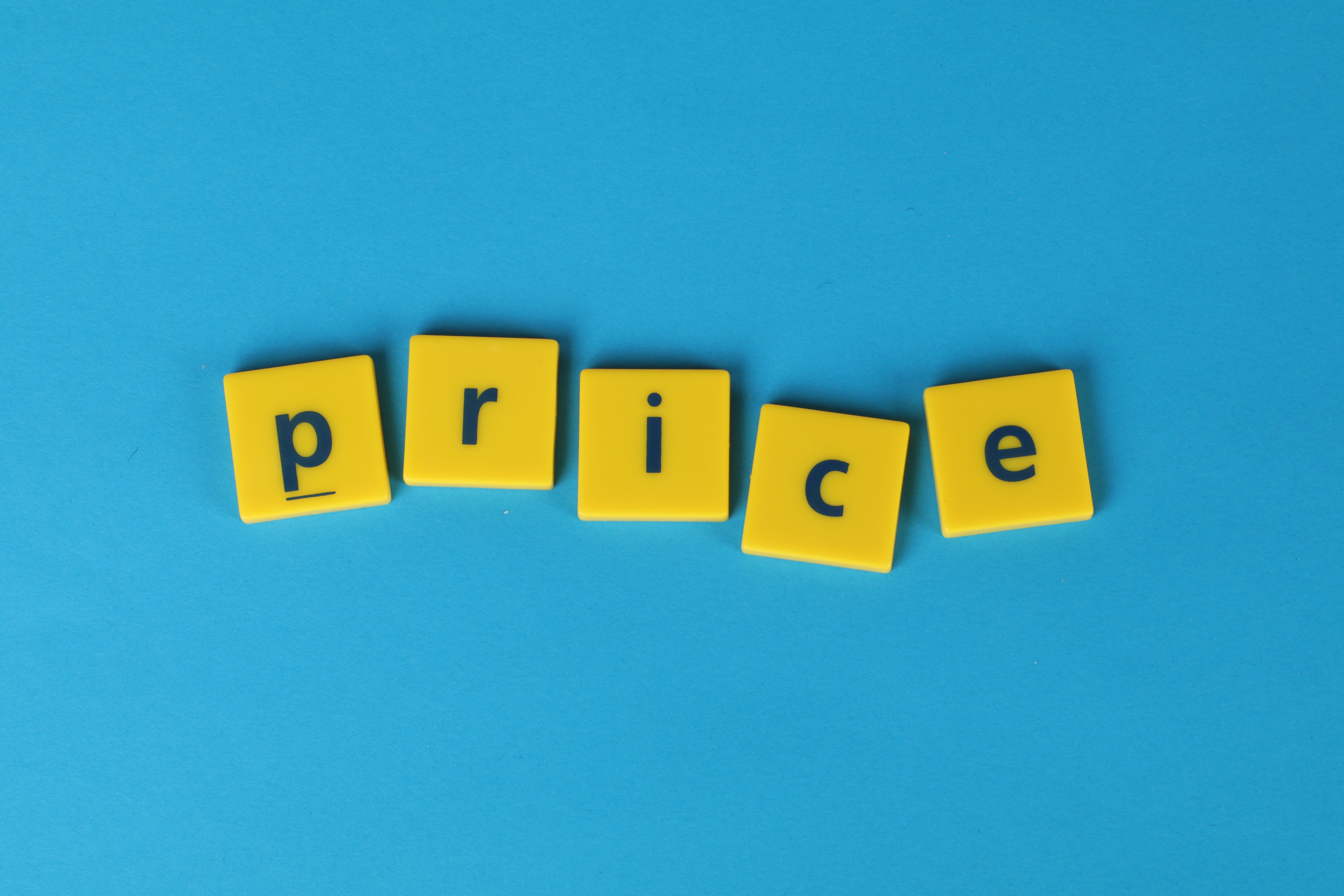 Free stock photo of blue background, price