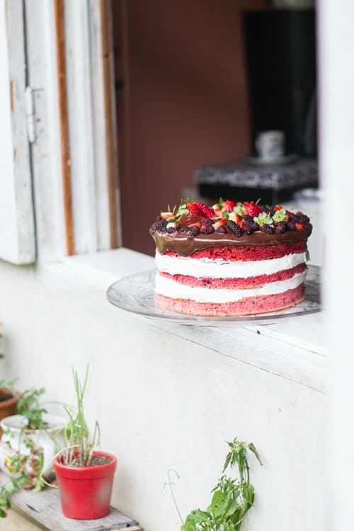 Naked Strawberry Cake in Open Window