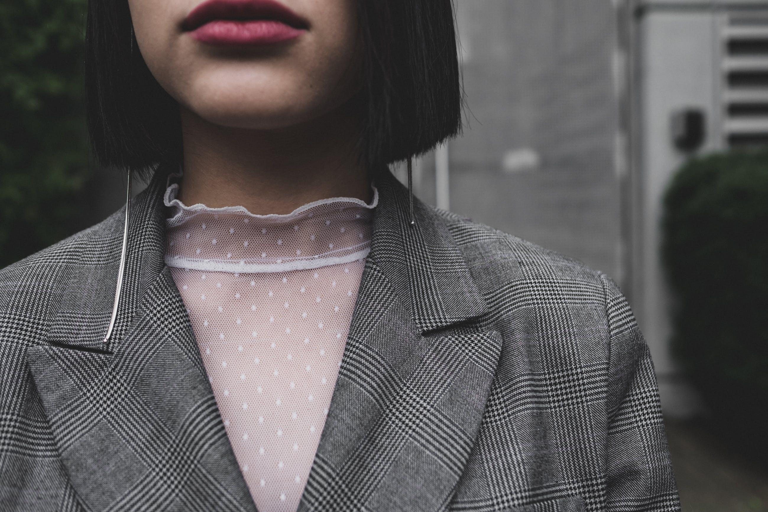 Woman Wearing Gray Blazer