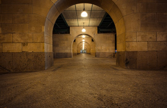 Free stock photo of lights, night, tunnel, architecture