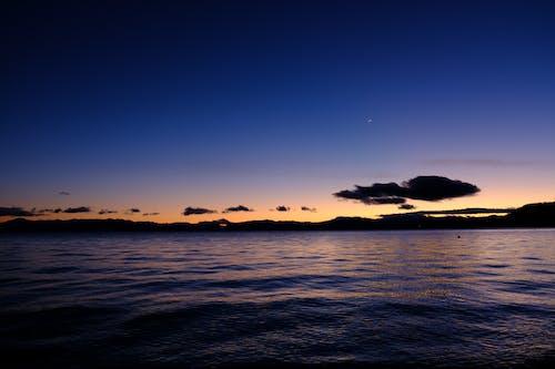 Ilmainen kuvapankkikuva tunnisteilla auringonlasku, auringonlaskun ranta, lila, sininen