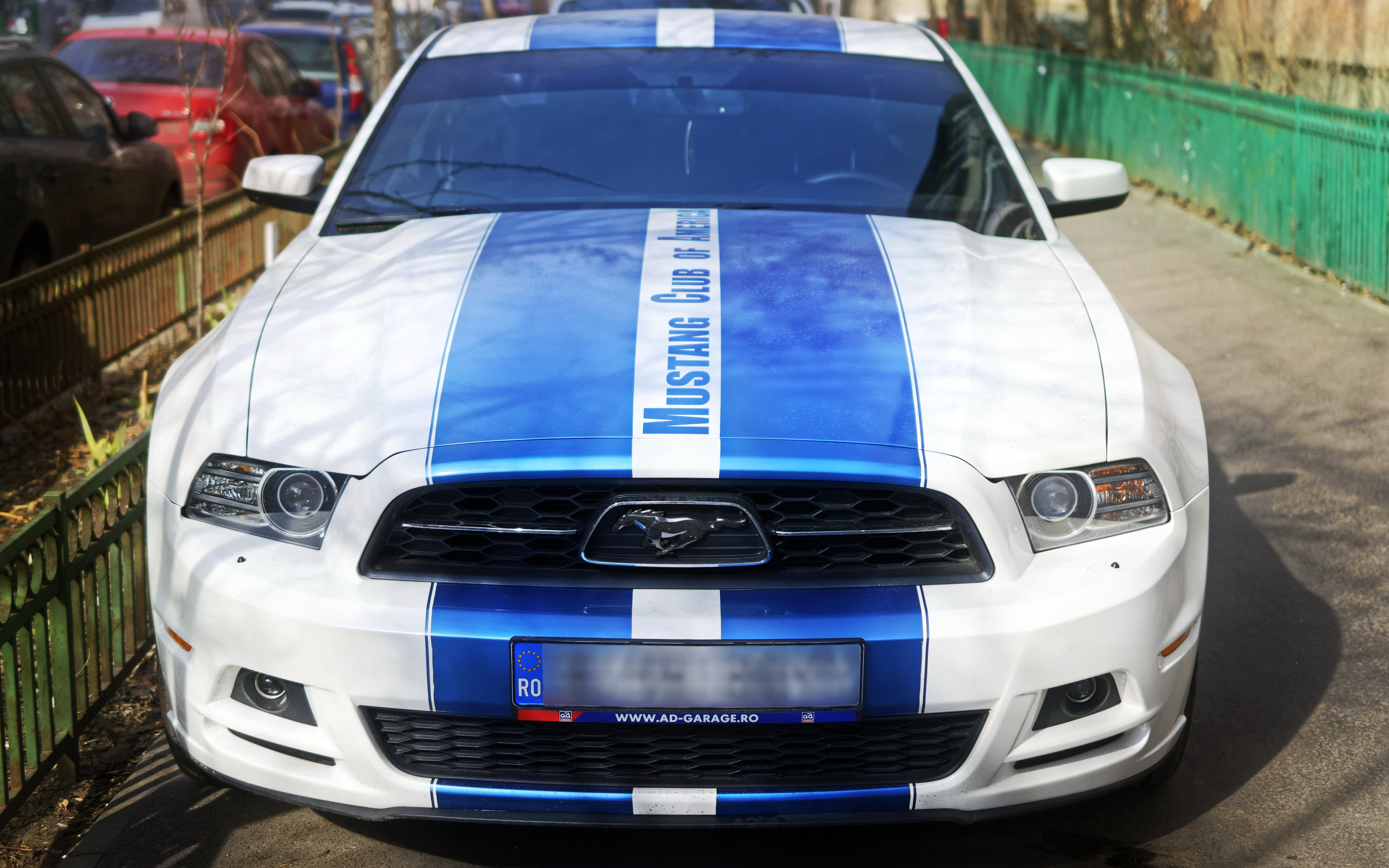 Free stock photo of car, fence, ford mustang, front