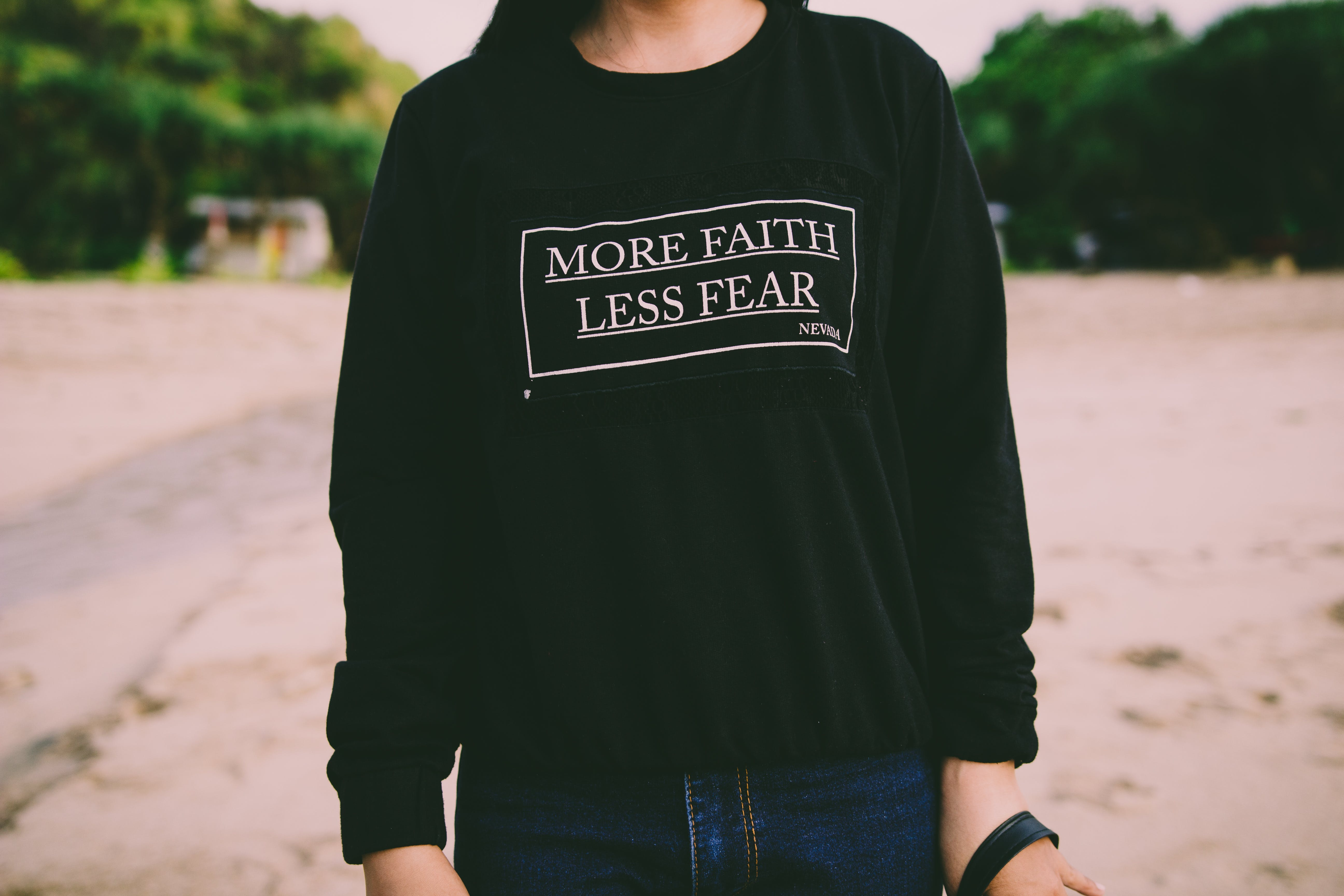 More Faith Less Fear White Sweater