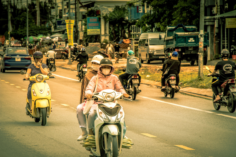 motor bike, people, road