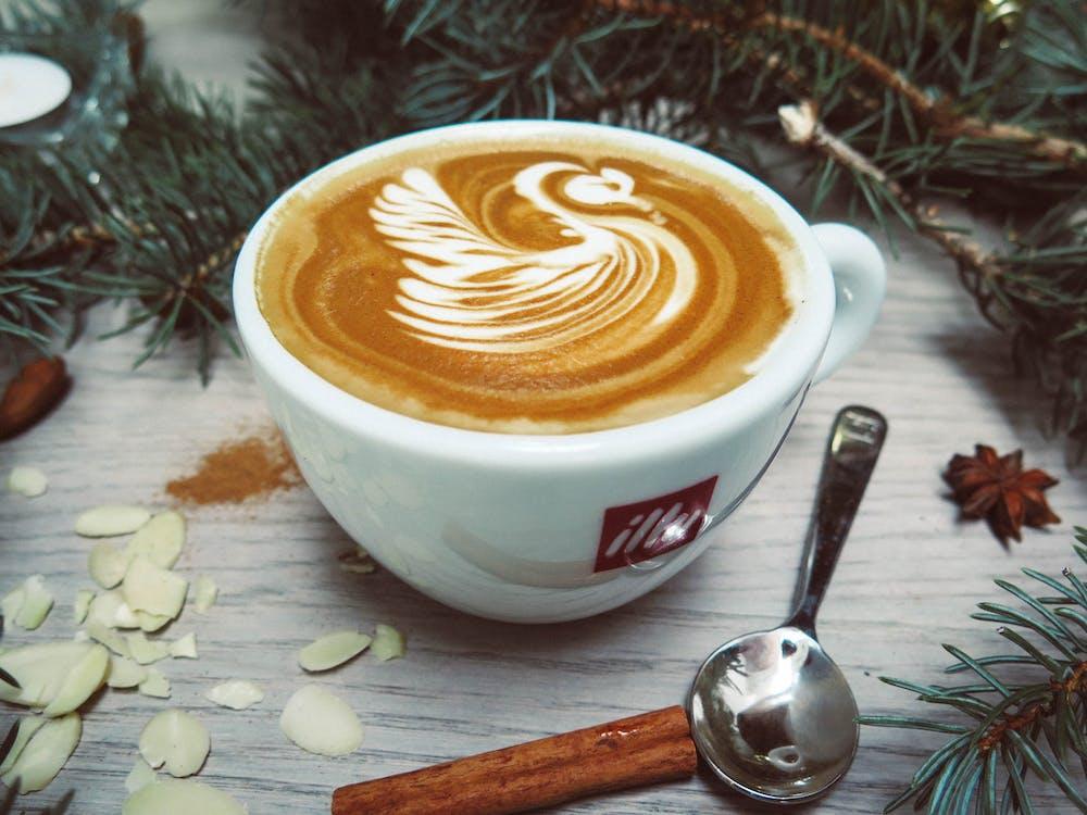 White Cappuccino With Swan Cream Design