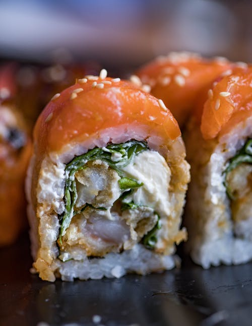 Close-Up Photo of Salmon Maki