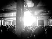 black-and-white, crowd, concert
