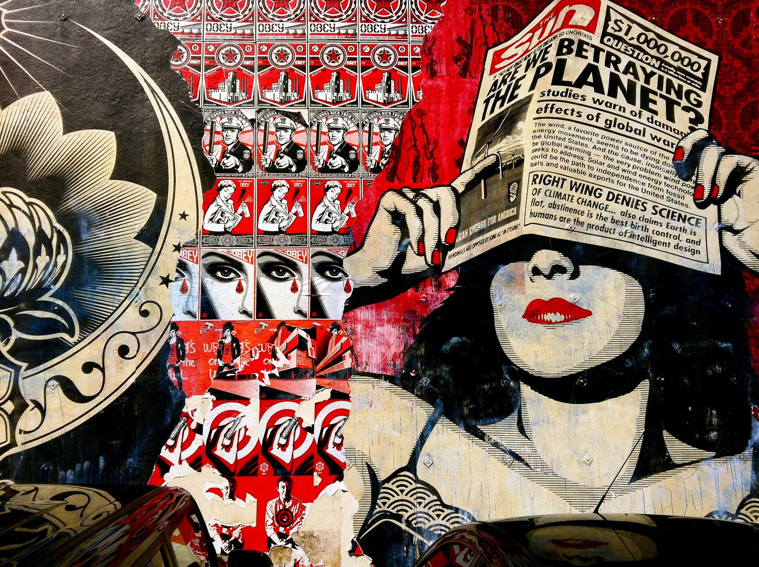 graffiti, obey propaganda, pattern