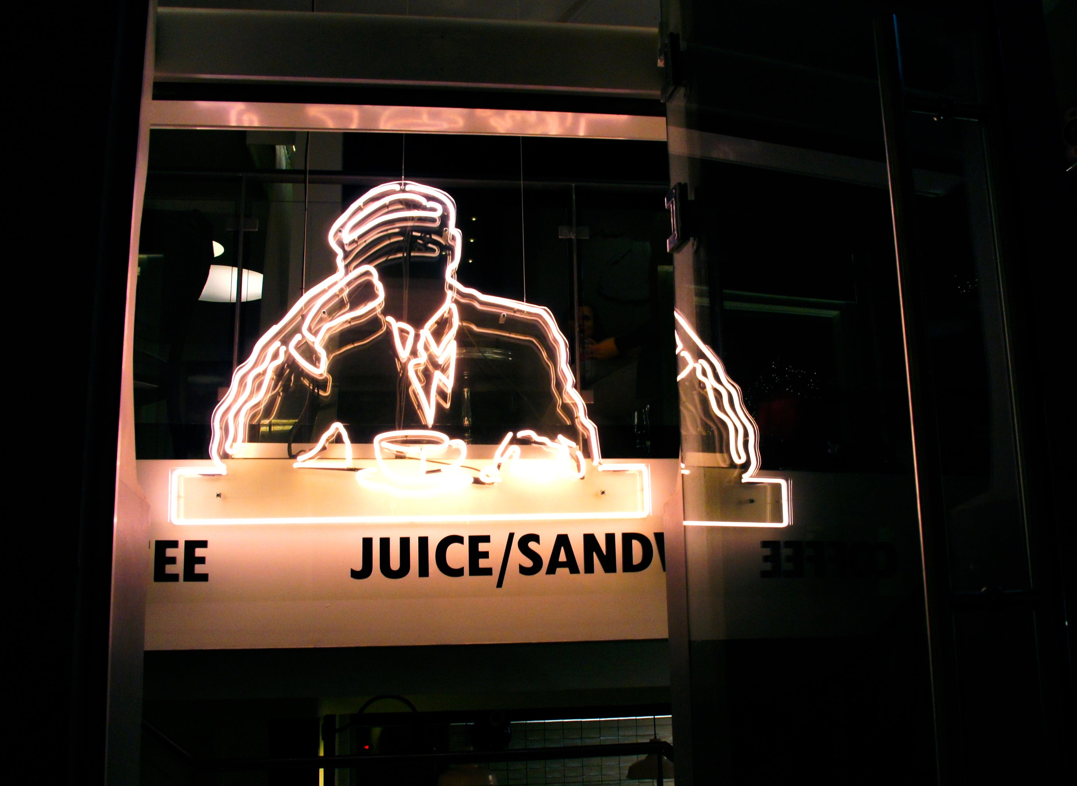Free stock photo of glass, Joe & the Juice, neo, reflection