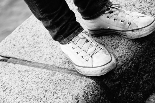 Free stock photo of black-and-white, shoes, converse, black&white