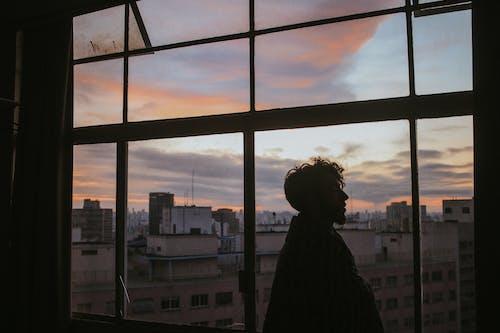 Man Standing Near Glass Window Inside Building