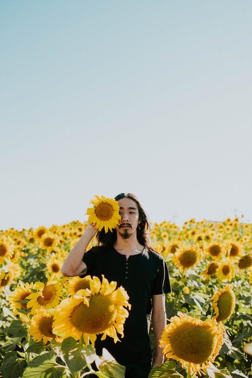 Man Holding Giant Sunflower on Bloom