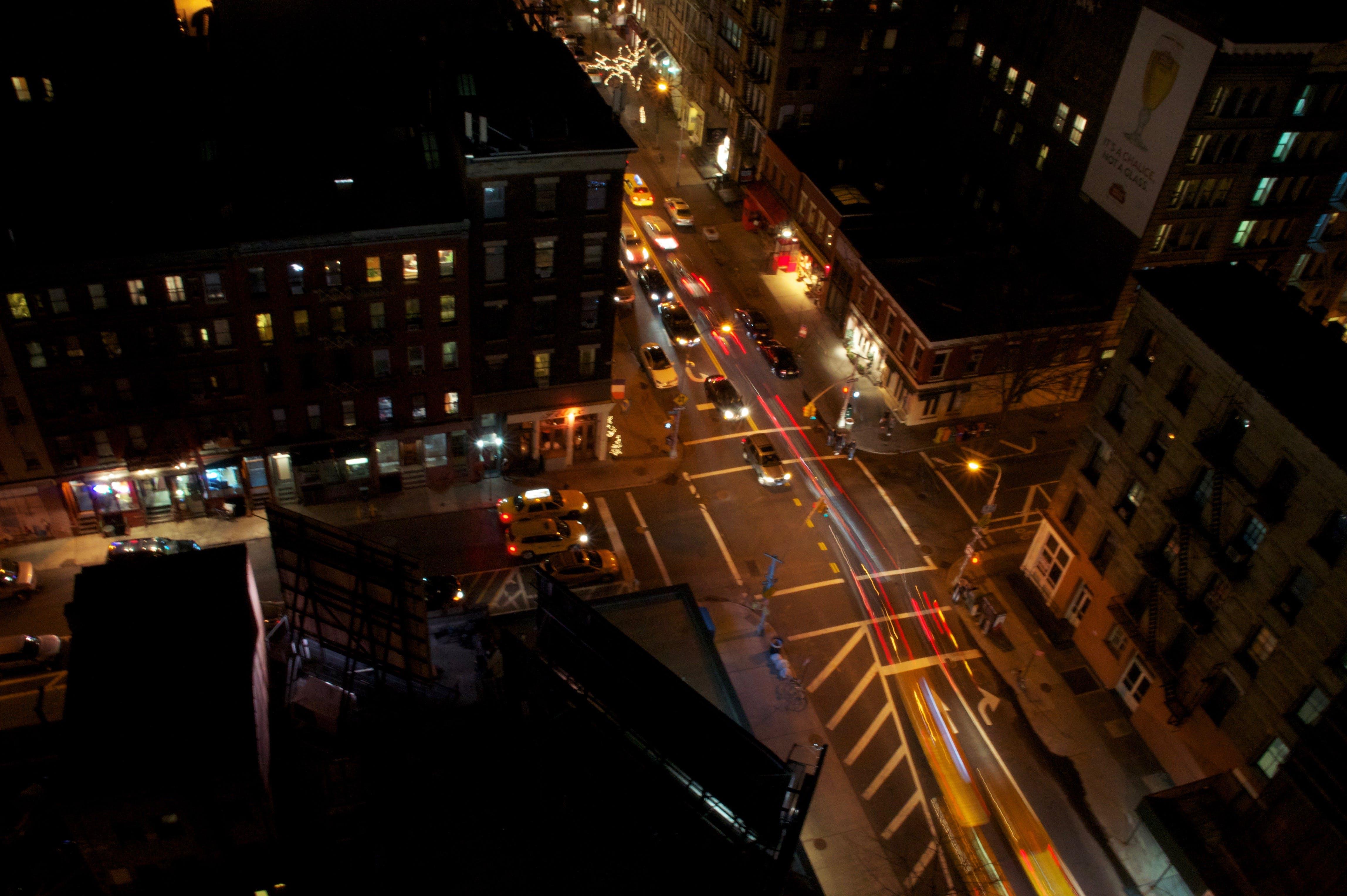 Free stock photo of cars, long-exposure, new york, night