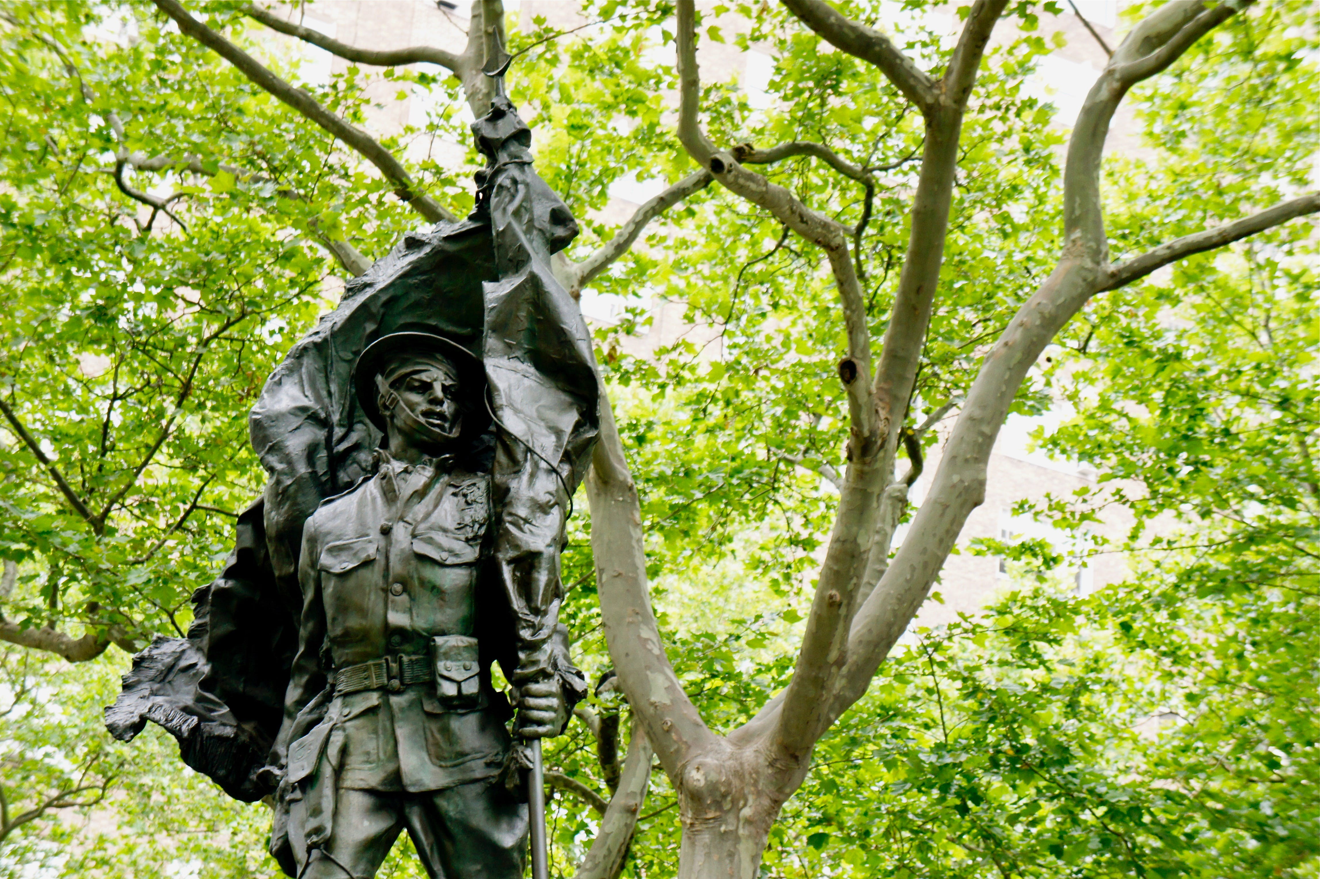 Free stock photo of new york, park, statue, holding flag