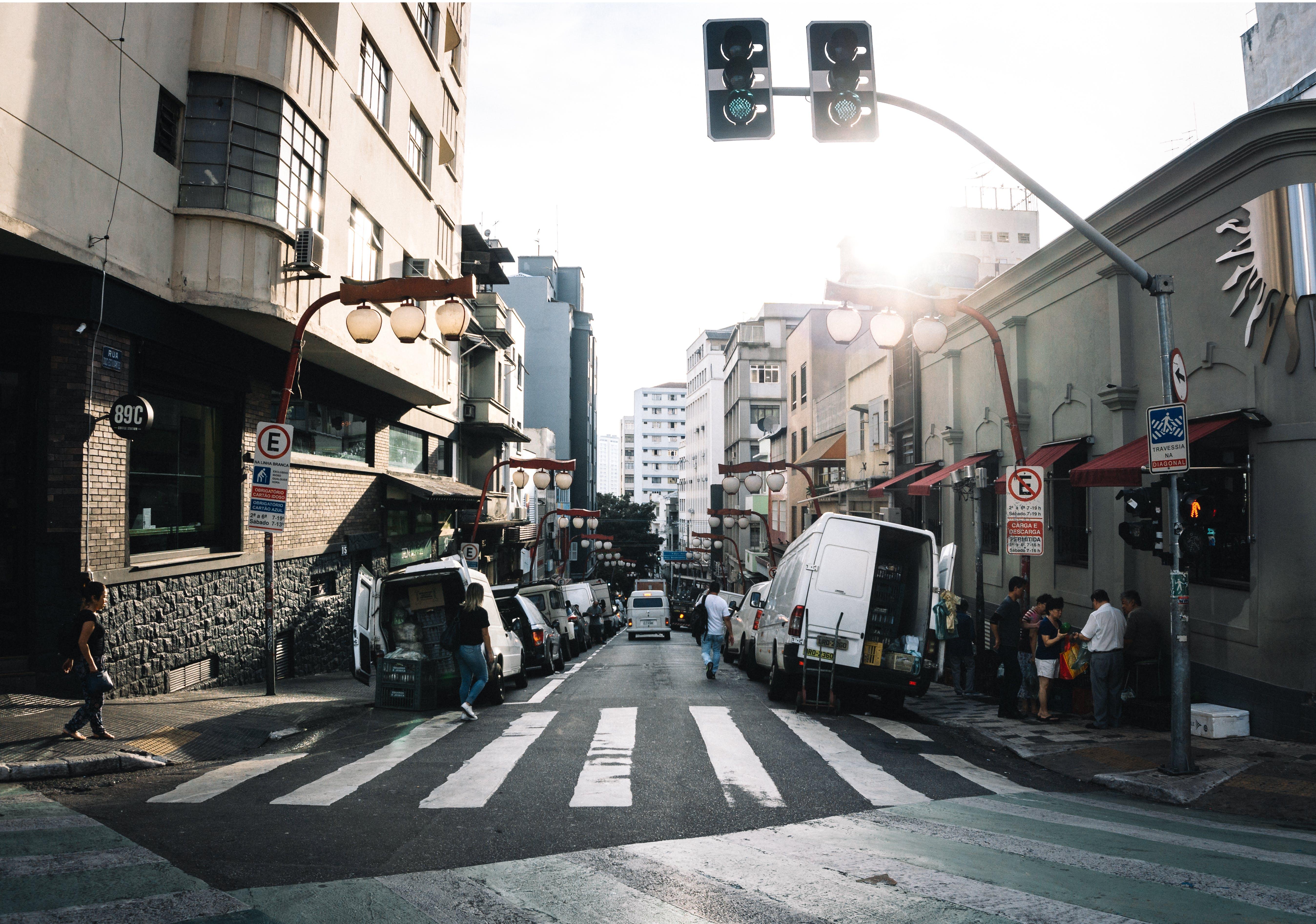 de andando, arquitetura, asfalto, automóveis