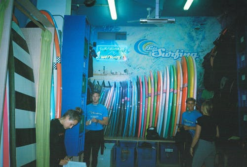 Four People Inside Surfing Building