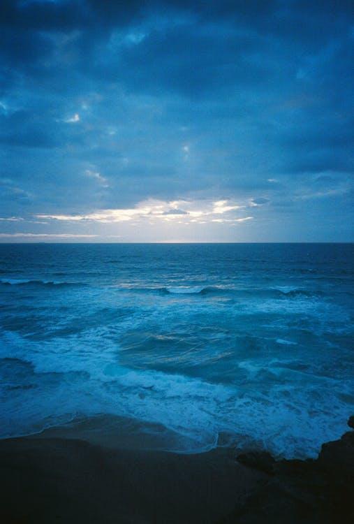 chmury, fale, horyzont