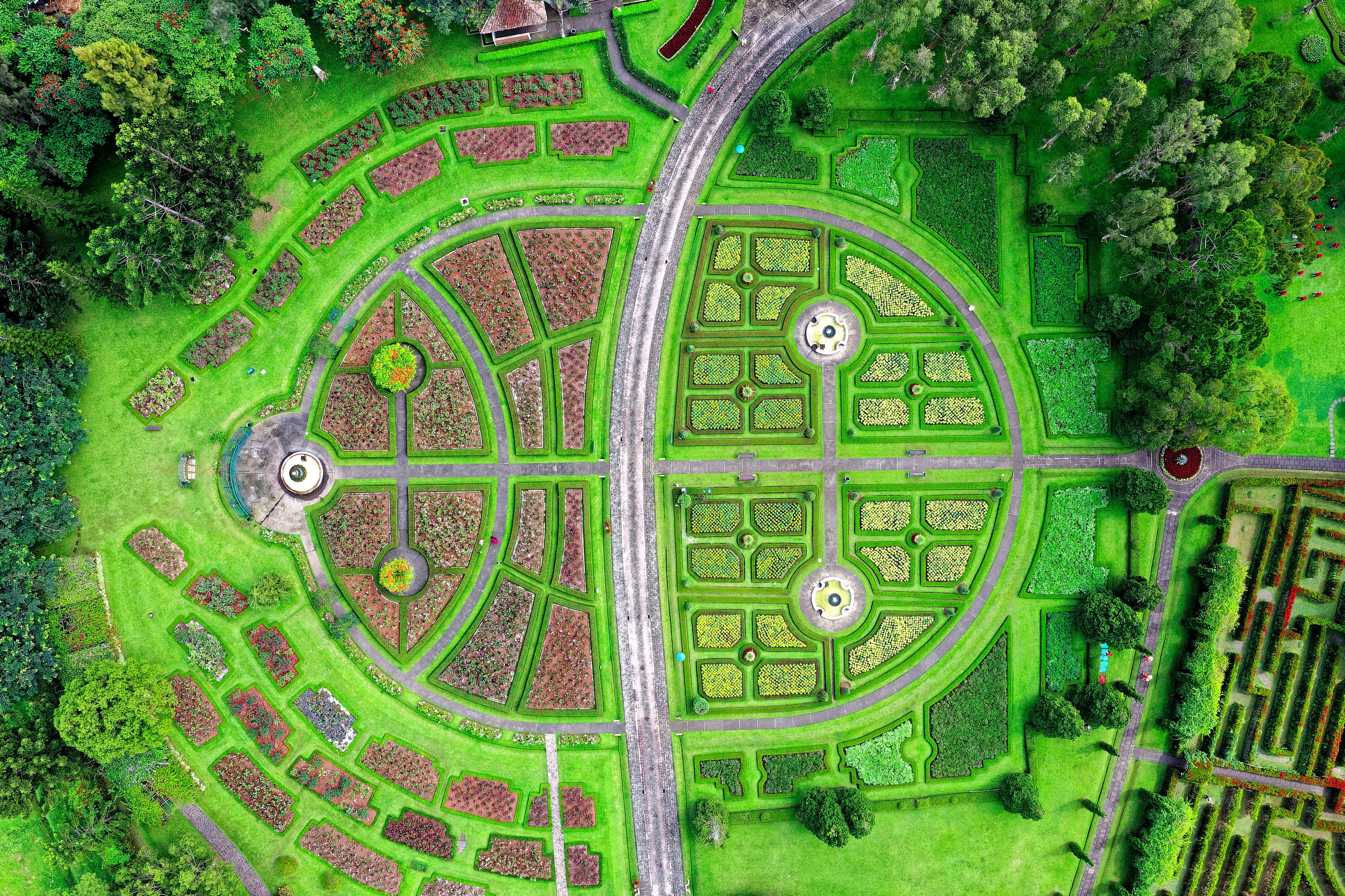 Aerial View of Maze Garden