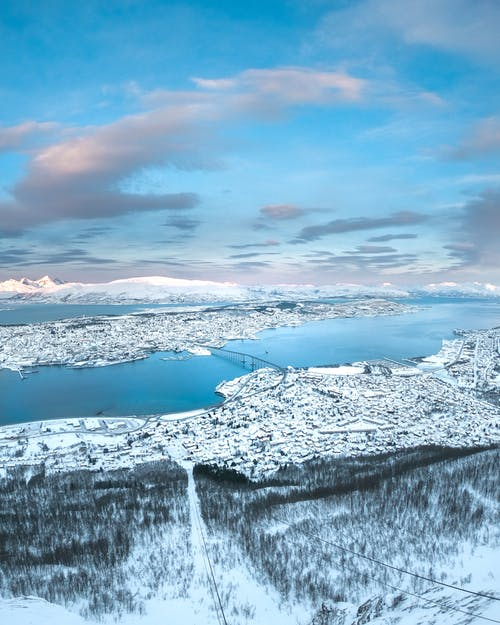 Aerial Photography Of Snowy Town
