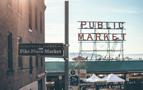 Free stock photo of public market, seafood, seattle, street
