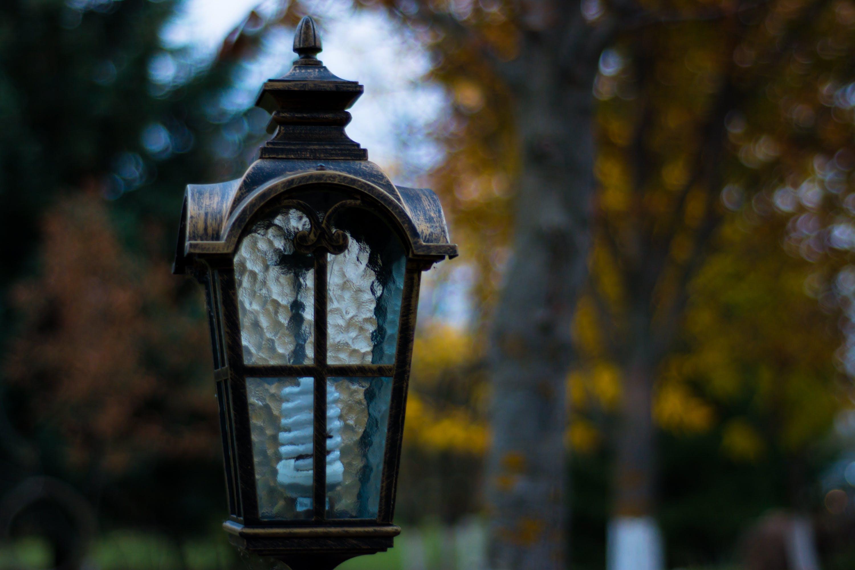city park, evening, lamp