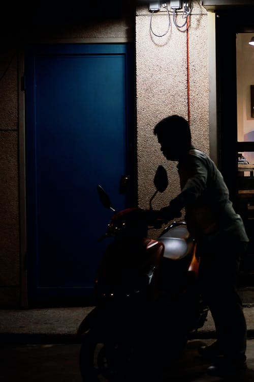 Free stock photo of Asian, man, motrocycle, night