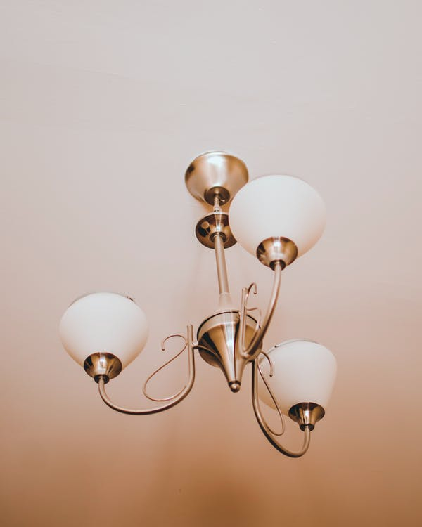 White and Brass Uplight Chandelier