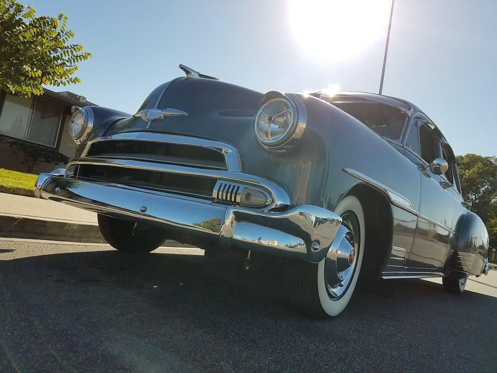 biru, lampu depan, mobil klasik
